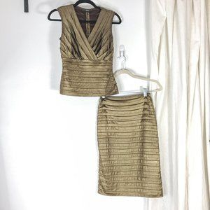 TADASHI Gold Copper Lame Tiered Layer Skirt Set